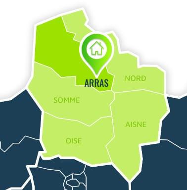 Localisation centre de formations Arras (Pas-de-Calais / Hauts-de-France).