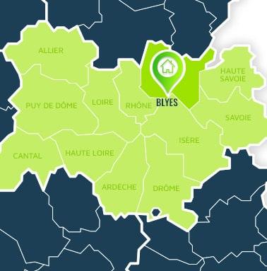 Localisation centre de formations Blyes (Ain / Auvergne-Rhône-Alpes).