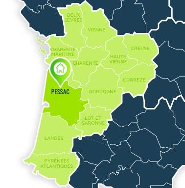 Localisation centre de formations Pessac (Gironde / Nouvelle Aquitaine).