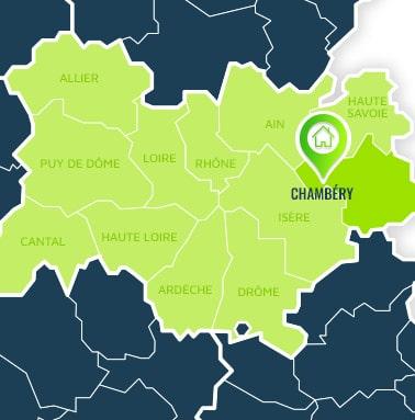 Localisation centre de formations Chambéry (Savoie / Auvergne-Rhône-Alpes).