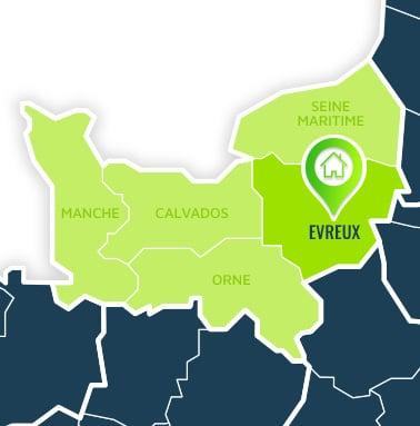 Localisation centre de formations Evreux (Eure / Normandie).