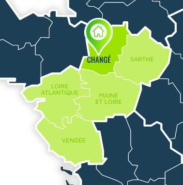 Localisation centre de formations Changé (Mayenne / Pays de la Loire).