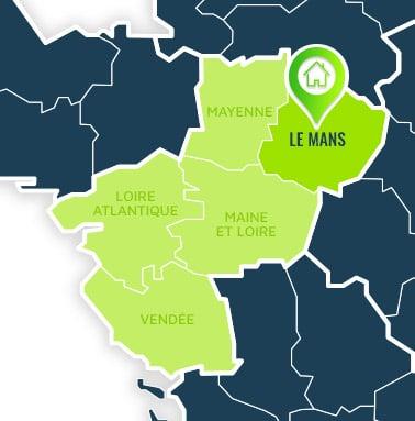 Localisation centre de formations Le Mans (Sarthe / Pays de la Loire).