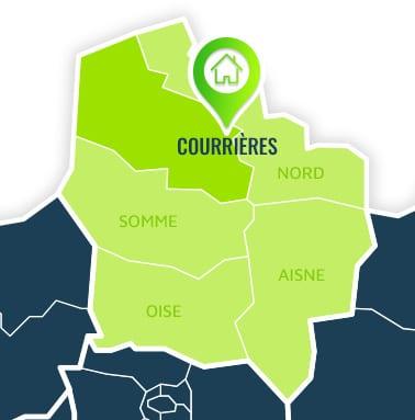 Localisation centre de formations Courrières (Pas-de-Calais / Hauts-de-France).