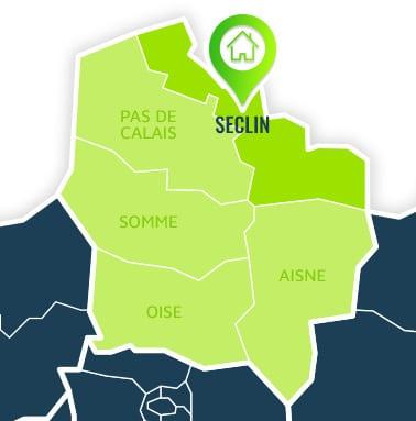 Localisation centre de formations Seclin (Nord / Hauts-de-France).