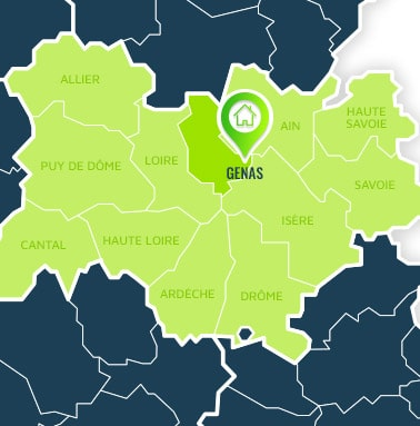 Localisation centre de formations Genas (Rhône / Auvergne-Rhône-Alpes).