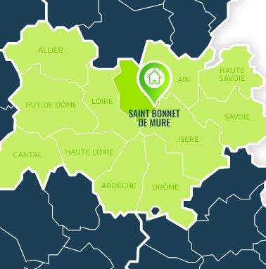 Localisation centre de formations Saint Bonnet de Mure (Rhône / Auvergne-Rhône-Alpes).