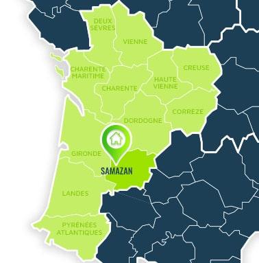 Localisation centre de formations Samazan (Lot-et-Garonne / Nouvelle Aquitaine).
