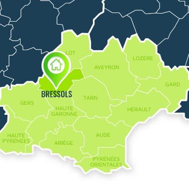 Localisation centre de formations Bressols (Tarn-et-Garonne / Languedoc-Roussillon-Midi-Pyrénées).