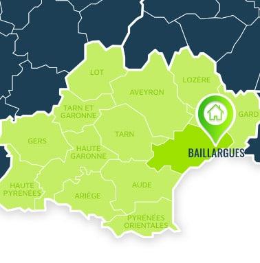 Localisation centre de formations Baillargues (Hérault / Languedoc-Roussillon-Midi-Pyrénées).