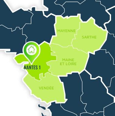 Localisation centre de formations Nantes 1 (Loire Atlantique / Pays de la Loire).