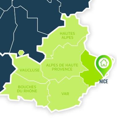 Localisation centre de formations Nice (Alpes-Maritimes / Provence-Alpes-Côte d'Azur).