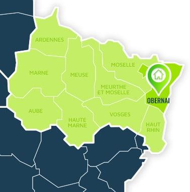 Localisation centre de formations Obernai (Bas-Rhin / Alsace-Champagne-Ardennes-Lorraine).