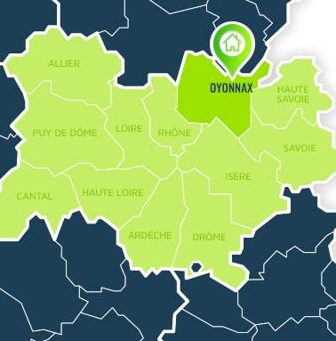 Localisation centre de formations Oyonnax (Ain / Auvergne-Rhône-Alpes).