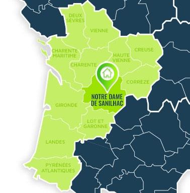 Localisation centre de formations Notre Dame de Sanilhac (Dordogne / Nouvelle Aquitaine).