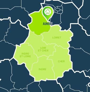 Localisation centre de formations Auneau (Eure-et-Loir / Centre-Val de Loire).