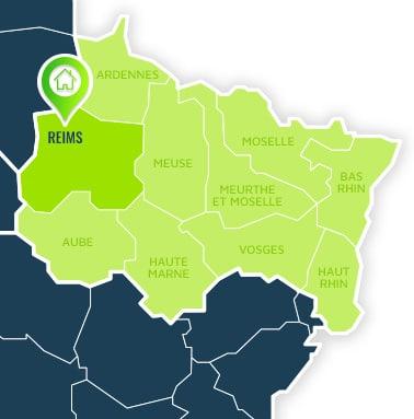 Localisation centre de formations Reims (Marne / Alsace-Champagne-Ardennes-Lorraine).