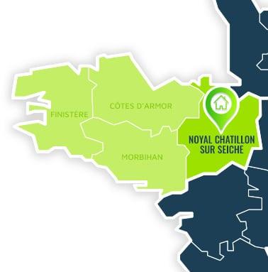 Localisation centre de formations Noyal Chatillon sur Seiche (Ille-et-Vilaine / Bretagne).
