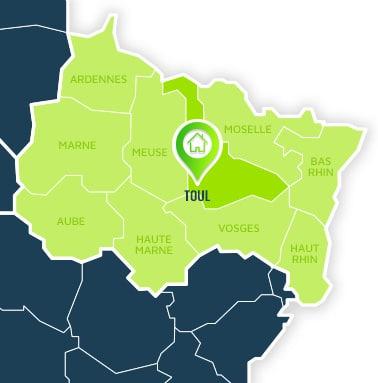 Localisation centre de formations Toul (Meurthe-et-Moselle / Alsace-Champagne-Ardennes-Lorraine).