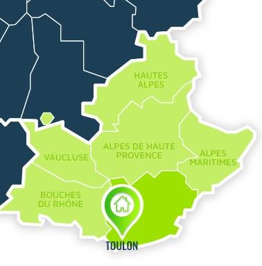 Localisation centre de formations Toulon (Var / Provence-Alpes-Côte d'Azur).
