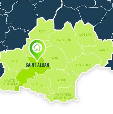 Localisation centre de formations Saint Alban (Haute Garonne / Languedoc-Roussillon-Midi-Pyrénées).