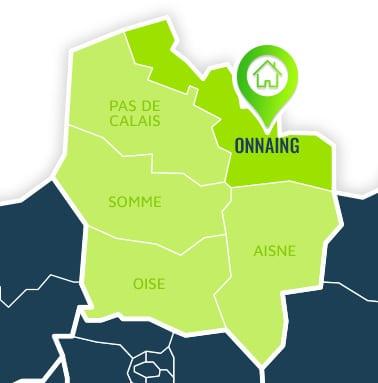 Localisation centre de formations Onnaing (Nord / Hauts-de-France).