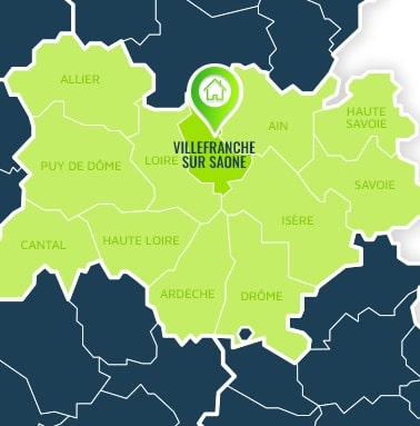 Localisation centre de formations Villefranche sur Saône (Rhône / Auvergne-Rhône-Alpes).
