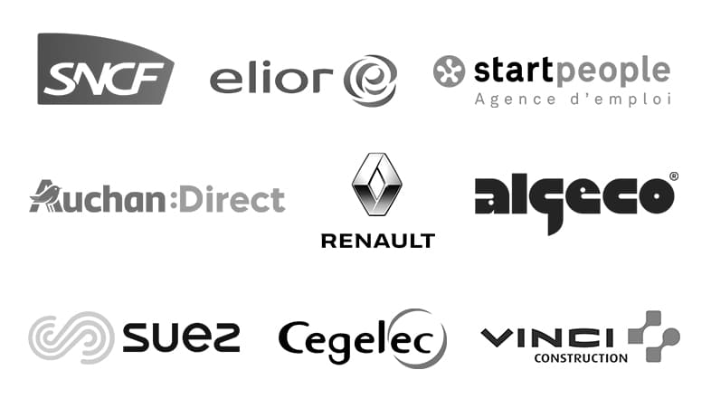 Logos : SNCF, Elior, Start People, Auchan Direct, Renault, Algeco, Suez, Cegelec, Vinci Construction.
